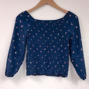Abercrombie Kids Teal Blue Floral Rouch Top 15/16